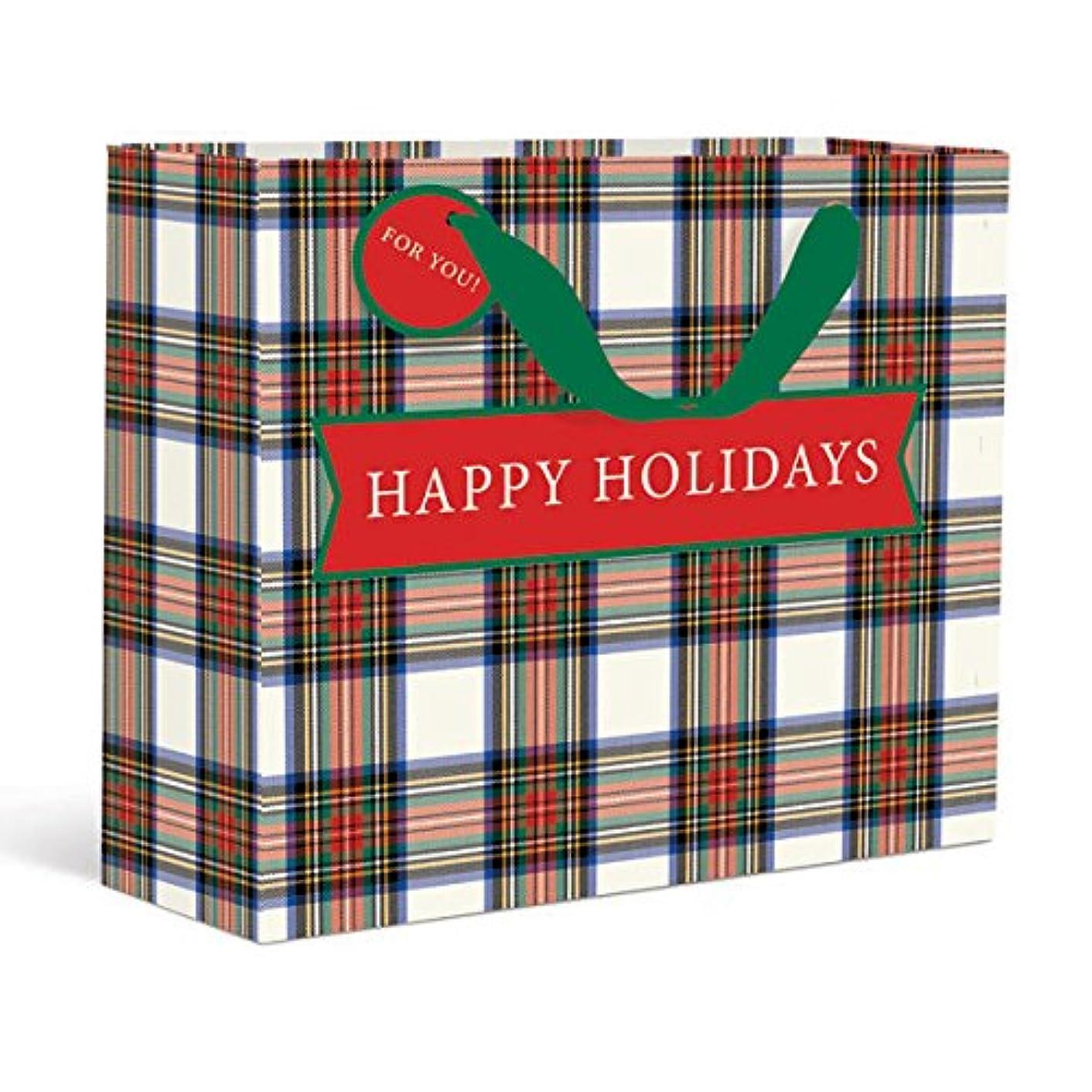 Graphique Plaid Large Gift Bag — Holiday Gift Bag with Embellished Glitter