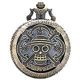 Reloj de bolsillo para hombre, diseño de anime antiguo, una pieza, reloj de bolsillo de cuarzo hueco, regalo para hombres