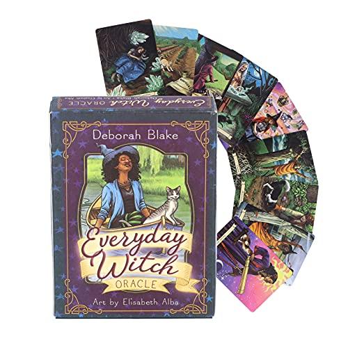 Qini Conjunto de 40 cartas de tarô, cartas oráculo de bruxa do dia a dia, cartão de adivinhação de destino de festa para bruxas e leitores, adequado para ocasiões como festas em casa, cartas de tarô de adivinhação para iniciantes