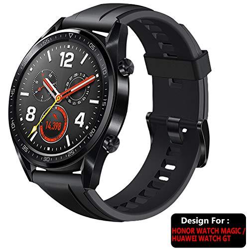 TASLAR Soft Silicone Sport TPU Band Strap for Honor Watch Magic/Huawei Watch GT (Black)
