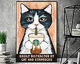 AZSTEEL Cat Poster, Starbucks Lovers Poster, Cat and