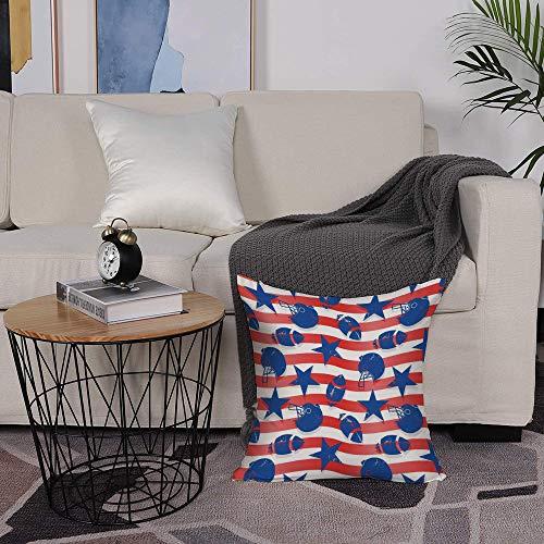 Microfiber cushion cover 50x50 cm,Football,Wavy Stripes and National Sport Icons in American USA Flag Insp,Sofa Waist Chair Home Office Bar Car Decor Decorative Throw Pillowcase Protectors With Zipper