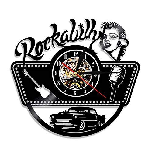 FXPCYGZ Wanduhr Vintage Aus Vinyl, Mit LED Hintergrundbeleuchtung Design 3D Rockabilly Muster Wand Familien Dekoratio 7 Farben Mit Fernbedienung Stille Nachtlampe Uhr Kreative Retro-Nostalgie