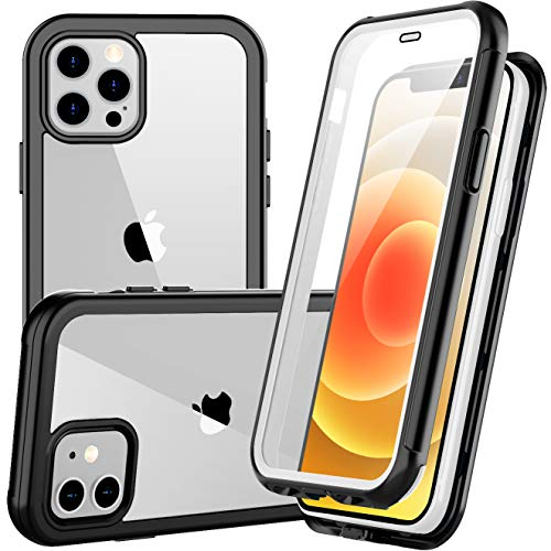 Redpepper Slim Case for iPhone 12 Pro Case,for iPhone 12 Case, Shockproof Built-in Screen Protector Clear Full Body Rugged Case for iPhone 12,for iPhone 12 Pro 6.1 inch 2020 (White/Clear)