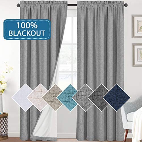 Bedroom 100% Blackout Curtains Textured Linen Look Room Darkening Drapes for Living Room, Thermal Insulated Rod Pocket Curtains Burlap Fabric with White Liner(Dove Gray, 2 Panels, 52x84-Inch)