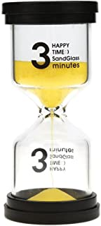 Veoley 3 Minutes Sand Timer Hourglass Sandglass Sand Clock for Games Classes Toothbrushing Workout - Yellow