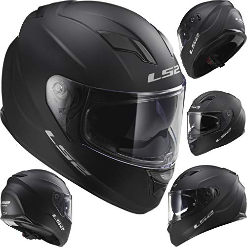 GPR Casco Moto Compatibile con LS2 LS2 STREAM EVO FF320 SOLID Matt Black - S