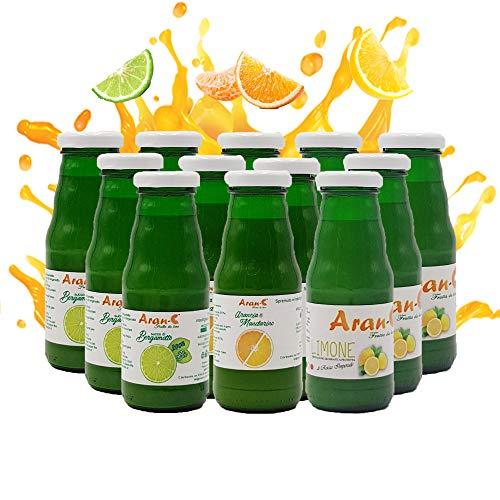 Mix Succhi di Frutta Spremute , Box Succhi Spremuta Frutta Misti Succo Bergamotto Puro Nettare di Arancia e Mandarino Spremuta di Limone, 12 Bottiglie da 200 ml