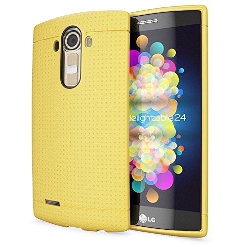 NALIA Funda Carcasa Compatible con LG G4, Protectora Movil Silicona Fina Bumper Estuche con Puntos, Goma Cubierta Telefono Celulare Cobertura Delgado Dot Cover Smart-Phone Case - Amarillo