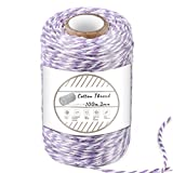 Purple and White Cotton String, 100M/328 Feet Cotton Bakers Twine String, Cotton Cord, Gift Wrapping Twine for Baking, DIY Crafts, Home Decoration (2MM)
