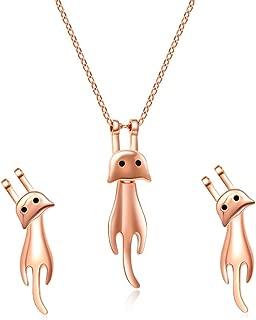 Sterling Silver Cat Kitty Jewelry Set - Cat Lovers Necklace, Earrings, Bracelet, Ring Set for Women
