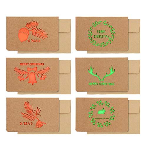 12 piezas Tarjetas de felicitación de Navidad con sobres Tarjeta de felicitación de Kraft de feliz huecas 6 diseños surtidos Tarjetas de felicitación para regalos de Regalos de fiesta de Navidad