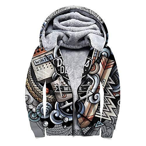 Dodom Impresión 3D HD más suéter de Terciopelo Más Sudadera de Terciopelo con Cremallera Cartel de Arte clásico Vestido de Fiesta de Fiesta de suéter casero BKWE 4, M
