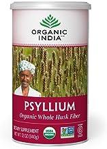 ORGANIC INDIA Whole Husk Psyllium Fiber Supplement, 12-Ounce