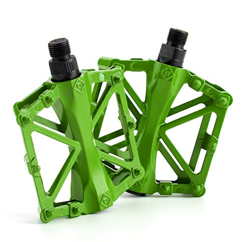 AllRight Alloy Flat-Platform Pedals For Cycling Mountain MTB BMX Bike Bicycle Bearing 9/16 Inch Green