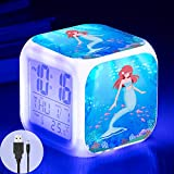 Mermaid Alarm Clock for Girls, Kids Digital Alarm Clock with 7 Color LED Light and USB Cable, Wake Up Clock with Mermaid for Girl Bedroom Decor