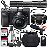 Sony Alpha a6400 Mirrorless Digital Camera with 16-50mm and 420-800mm Telephoto Lens + 2X 64GB Memory Card, UV & Close-up Filters, Microphone, Portable Tripod, Gadget Bag & More