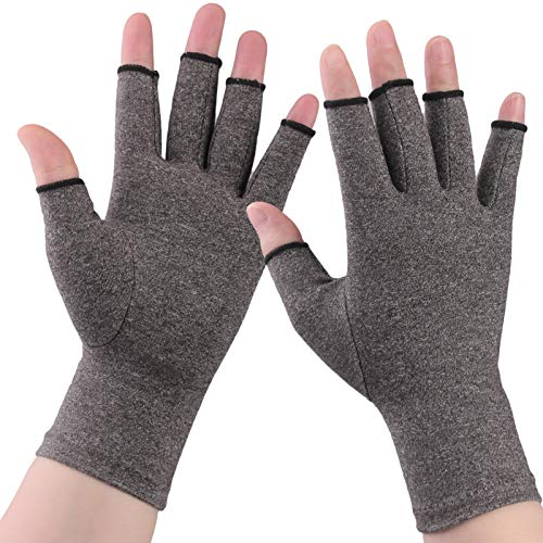 2 Pairs HUAD Arthritis Gloves, Copper Compression Gloves for Women and Men-Comfy Fit Fingerless Design