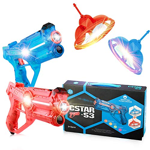 Laser Tag Guns with Drones Set of 2 for Kids, Fun Shooting Lazer Launchers Game for Boys with LED Effects, Sounds and 4 Gun Modes, Infrared Flying Toy Targets for 2 Players