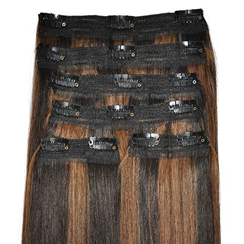 Extensiones de cabello de lujo, cuádruple trama, cabeza completa, clip real – 100% Remy, cabello humano suave, de lujo, (22 pulgadas, 6 unidades, 270 g, 10 colores)