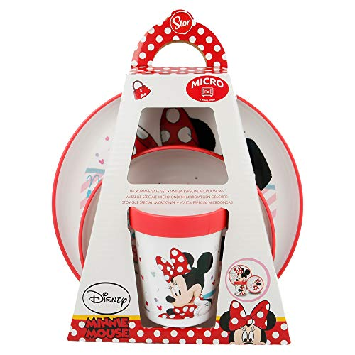 SET PREMIUM BICOLOR 3 PCS (PLATO, CUENCO y VASO 260 ML) MINNIE MOUSE - DISNEY - ELECTRIC DOLL