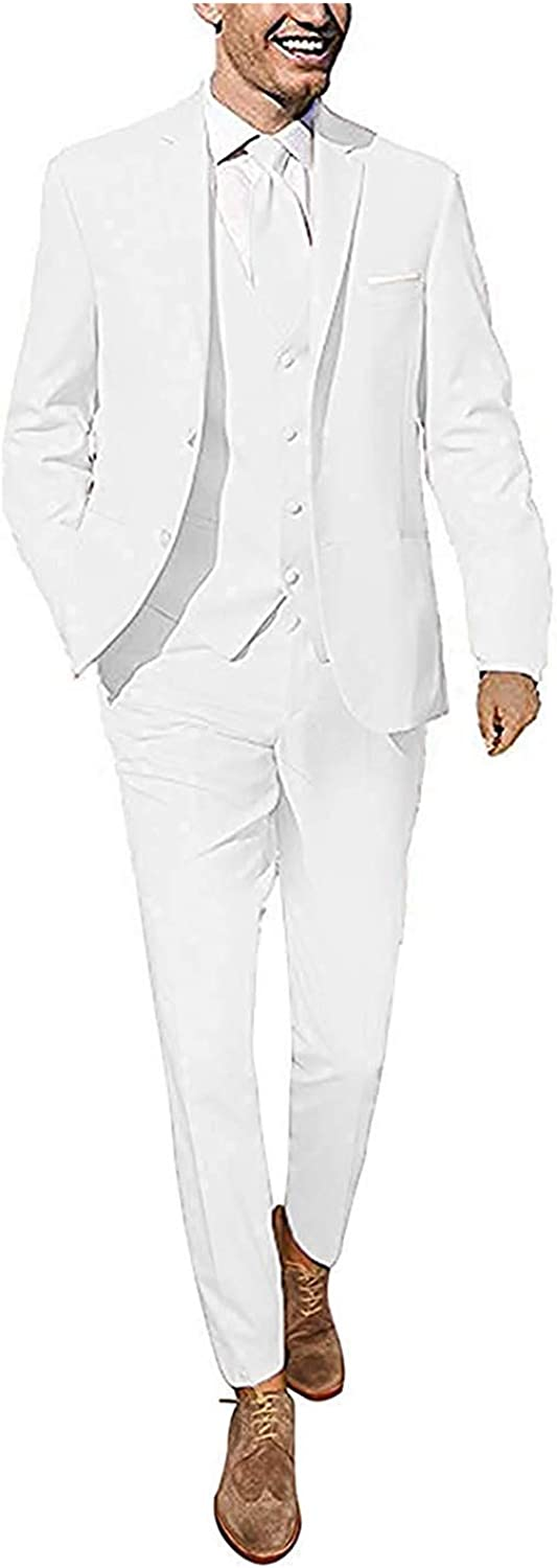 Wemaliyzd Mens Regular Fit 3 Piece Suit for Wedding Evening Single Breasted Vest Pants
