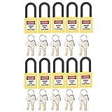 Bloqueo De Etiquetado, Candado De Seguridad 10 Juegos De 38 Mm Para Aplicaciones De Bloqueo Eléctrico, Hidráulico O Neumático(amarillo)