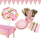 142 Pieces Pink and Gold Party Supplies Set, Golden Dot Disposable Party Dinnerware, Include Pink Paper Plates Napkins Cups, Gold Plastic Forks Knives Spoons for Graduation, Birthday, Cocktail Party