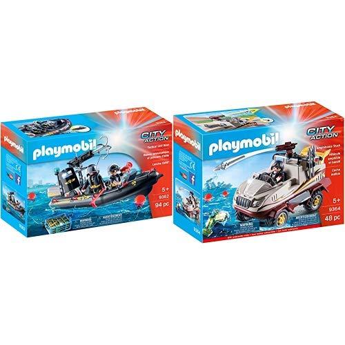 Playmobil 9362 - SEK-Schlauchboot Spiel &  9364 - Amphibienfahrzeug Spiel