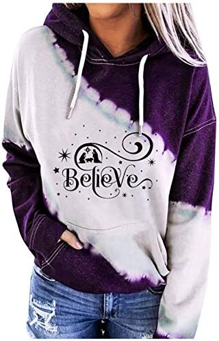Womens Tie Dye Hoodie Pullover with Inspirational Sayings Believe Christian Sweatshirts for product image