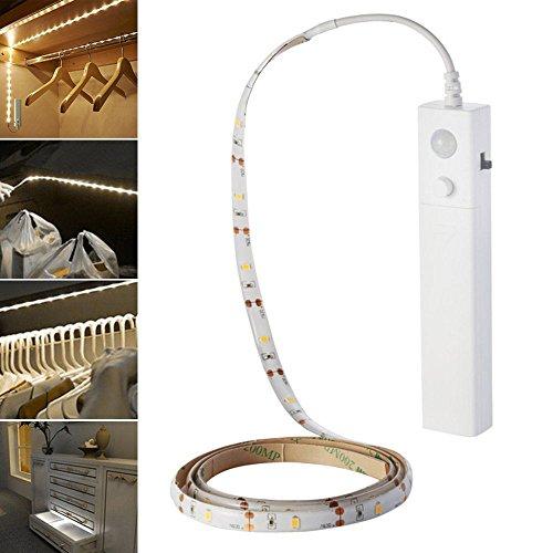 lzndeal Lampe flexible Ruban de LED avec Détecteur de Mouvement Lampe de nuit souple Lampe Autocollant pour Chambre à coucher/Cabinet Lit/Miroir/Salle de Bain/Armoire/Escalier/Couloir