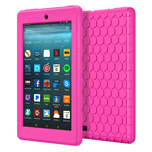 MoKo Smart Cover per All-New Amazon Fire 7 (7.0 pollici Display, 7ª Gen - modello 2017) - Leggera Custodia Protettiva di Silicone con Paraurti per Nuovo Amazon Fire 7, Magenta