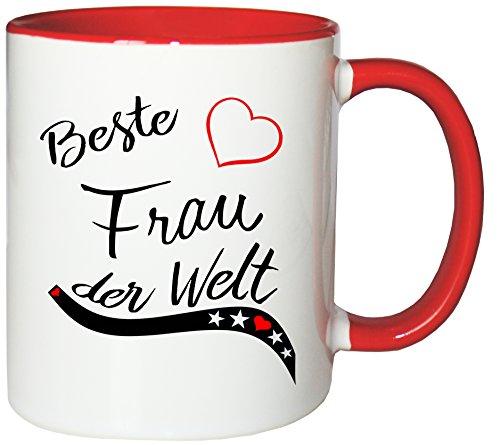 Mister Merchandise Kaffeebecher Tasse Beste Frau der Welt Ehefrau Heirat Ehe Danke Teetasse Becher Weiß-Rot