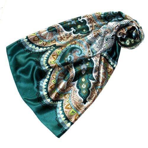 Lorenzo Cana Luxus Seidentuch aufwändig bedruckt Tuch 100% Seide 90 cm x 90 cm harmonische Grün Farben Damentuch Schaltuch 89082