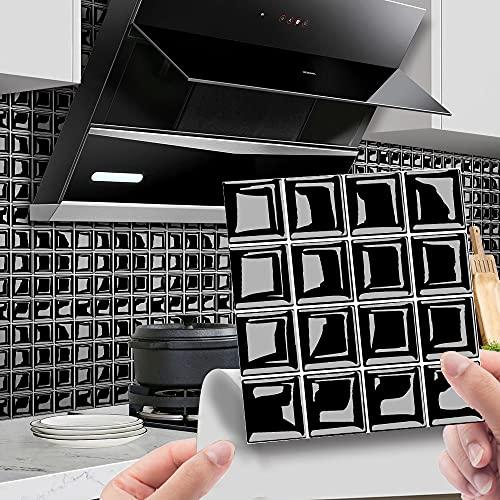 Hiser 30 Piezas Adhesivos Azulejos Pegatinas para Baldosas del Baño/Cocina 3D Impresión de Mosaico - Mármol Clásico Resistente al Agua Pegatina de Pared Decorativos (Negro,20x20cm)