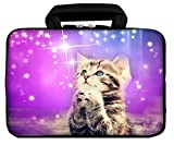 iColor 12' Laptop Handle Bag 11.6' 12.2 inch Neoprene Notebook Tablet Sleeve Computer PC Carrier Protection Cover Case Pouch (Purple/Cat)