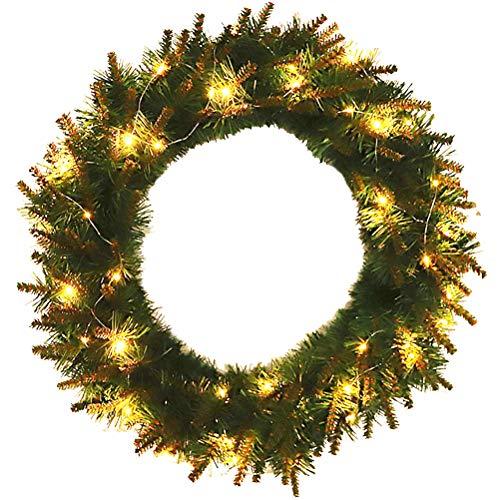 Surenhap - Corona de Navidad con Guirnalda de Luces LED para Pared o Puerta, 40 cm
