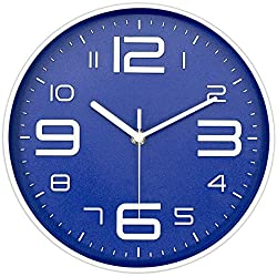 45Min 10-Inch 3D Number Dial Face Modern Wall Clock, Silent Non-Ticking Round Home Decor Wall Clock with Arabic Numerals, 7 Colors(Blue)