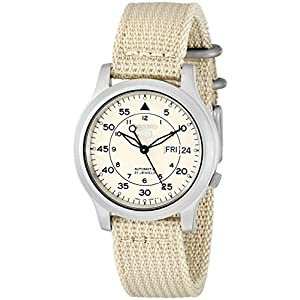 Fashion Shopping SEIKO Men's SNK803 SEIKO 5 Automatic Watch with Beige Canvas Strap