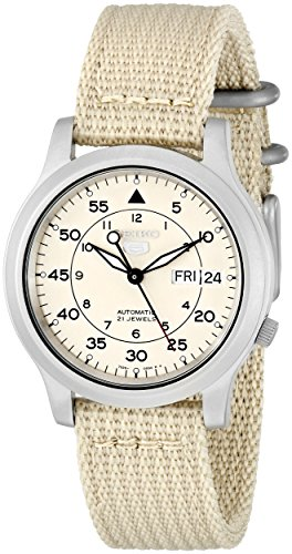 Fashion Shopping SEIKO Men's SNK803 SEIKO 5 Automatic Watch with Beige Canvas Strap