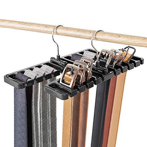 DIOMMELL 2 PCS Belts Rack Storage Organizer Hanger Holder - Closet tie Racks Hangers Sturdy for Men Women Black
