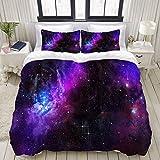Funda nórdica, Nebula Dark Galaxy con estrellas luminosas y rayos cósmicos Astronomía Explore Theme, juego de cama Juego de fundas de edredón de poliéster de poliéster ultra cómodo y liviano