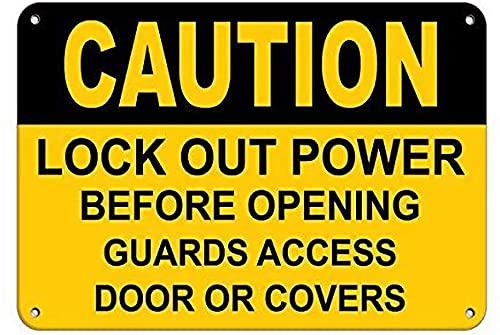 Precaución Bloqueo de energía antes de abrir Guardias Cartel de chapa de pared Cartel de metal Placa retro Señal de advertencia Pintura de hierro vintage Decoración Divertidas manualidades colgantes