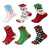Yidarton Weihnachtssocken Weihnachtsmotiv Weihnachten Festlicher Weiche Baumwolle Winter Warm Neuheit Mix Design Socken für Damen und Mädchen (Größe 35-42)