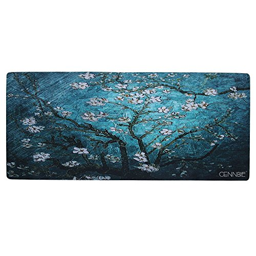 Cennbie Blossoming Almond Tree Rectangle Large Gaming Mouse Pad Extended Oblong Gaming Mousepad Mouse Mat in 895mm395mm1.8mm (Edge Stitched)
