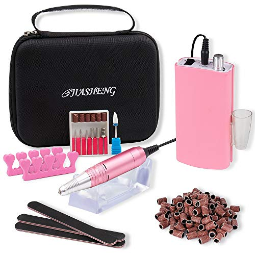 Professional Rechargeable Electirc Acrylic Nail Drill Machine 30000rpm Portable Nail File Cordless Grinder Tool with Ceramic Acrylic Nail Drill Kit for Salon Supplies and Home Use(Pink)