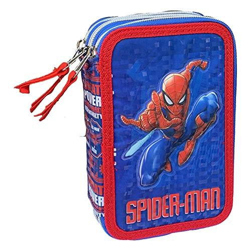 M.C. srl Astuccio Scuola 3D Spiderman Marvel MULTISCOMPARTO 3 Zip PORTACOLORI PENNARELLI Giotto - SP0718