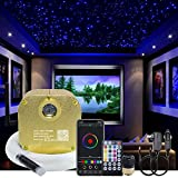 AKEPO 16W RGBW Twinkle Music+APP Control Fiber Optic Lights Star Ceiling Light Kit Car Home Use, LED Light Source + Optical Fiber Cable 430pcs 9.8ft/3m (0.75+1+1.5mm) + 28key Remote