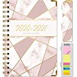 HARDCOVER Academic Year 2020-2021 Planner: (June 2020 Through July 2021) 5.5'x8' Daily Weekly Monthly Planner Yearly Agenda. Bonus Bookmark, Pocket Folder and Sticky Note Set (New Pink Triangles)