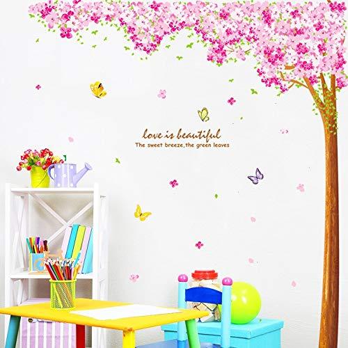 sxh28185171 Romantische Kirschblüte rosa Schmetterling Wandaufkleber Wohnzimmer Schlafzimmer Wandbild Dekoration Kirschbaum Wandtattoo Tapete90cmX60cm